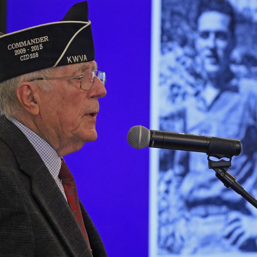 Richard N. St. Louis of Smithfield, U.S. Army (retired) speaks about his time in Korea during the war. Photo by Steve Szydlowski.